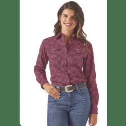 Wrangler Ladies Pink Black Geo Print Western Shirt