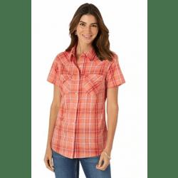 Wrangler Ladies Short Sleeve Orange Plaid Snap Western Top