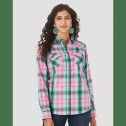 Wrangler Ladies Essential Pink Turquoise Plaid Snap Western Shirt