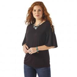 Wrangler Ladies Black Flutter Sleeve Knit Top