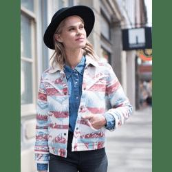 Wrangler Ladies Retro Sherpa Lined Jacquard Print Jacket