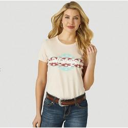 Wrangler Ladies Aztec Logo Graphic Pink T Shirt