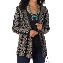 Wrangler Ladies Hooded Black White Aztec Cardigan