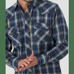 Wrangler Men's Premium Performance Advanced Comfort Blue Plaid Work Shirt