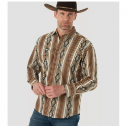 Wrangler Men's Checotah Brown Aztec Snap Western Shirt