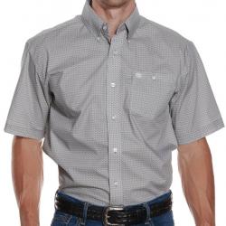 Wrangler Men's Taupe White Geo Print Short Sleeve Western Shirt