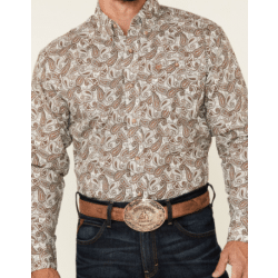 Wrangler Men's Brown Paisley Print Button Classic Western Shirt