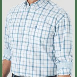 Wrangler Men's George Strait Button White Blue Plaid Western Shirt
