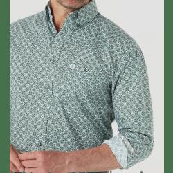 Wrangler Men's George Strait Button Green White Geo Print Western Shirt