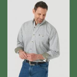 Wrangler Men's George Strait Long Sleeve Button Taupe Print Western Shirt