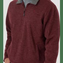 Wrangler Men's George Strait Quarter Zip Solid Dark Red Pullover