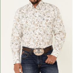 Wrangler Men's George Strait Khaki Paisley Long Sleeve Western Shirt