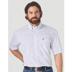 Wrangler Men's George Strait Short Sleeve Button White Navy Print Western Shirt