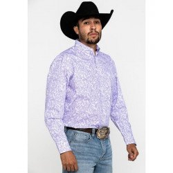 Wrangler Men's George Strait Purple Paisley Western Shirt