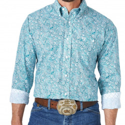 Wrangler George Strait Turquoise Paisley Long Sleeve Shirt