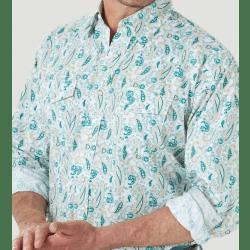 Wrangler Men's George Strait Troubadour White Teal Tan Print Snap Shirt