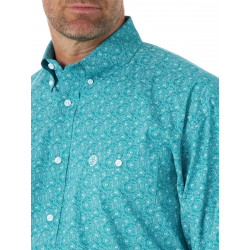 Wrangler Men's George Strait Turquoise White Swirl Print Button Western Shirt
