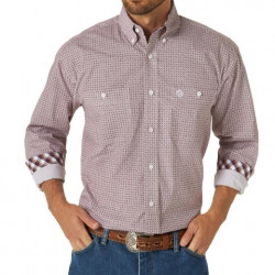 Wrangler George Strait Two Pocket Shirt Burgundy White Print Shirt