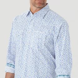 Wrangler Men's 20X Competition Advanced Comfort Snap Blue White Print Shirt