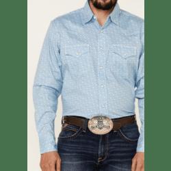 Wrangler Men's 20X Competition Advanced Comfort Snap Blue Print Shirt