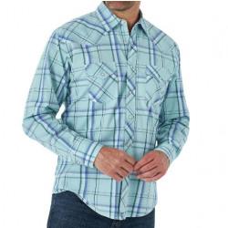 Wrangler Men's 20X Teal Bluet White Plaid Snap Western Shirt