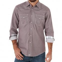 Wrangler Men's 20X Competition Advanced Comfort Snap Burgundy Print Shirt