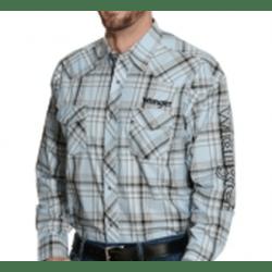 Wrangler Men's Blue White Plaid Button Western Shirt