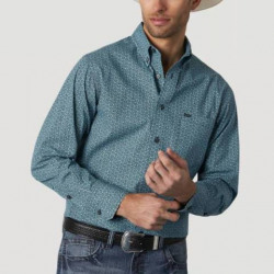 Wrangler Men's 20X Competition Advanced Comfort Aqua Geo Print Shirt