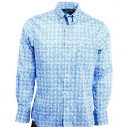 Wrangler Men's  20X Competition Button Blue White Print Western Shirt