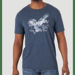 Wrangler Men's Short Sleeve Free Strong True Eagle Graphic Logo T Shirt Navy
