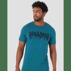 Wrangler Men's Teal Bucking Shute Logo T Shirt