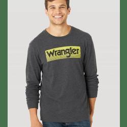 Wrangler Men's Long Sleeve Distressed Kabel Graphic Yellow Logo Tee