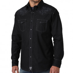 Wrangler Men's Embroidered Rock 47 Black Western Shirt