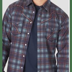 Wrangler Men's Rock 47 Decorative Stitching Navy Brown Plaid Snap Shirt