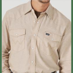 Wrangler Men's Cowboy Cut Chambray Long Sleeve Snap Khaki Work Shirt