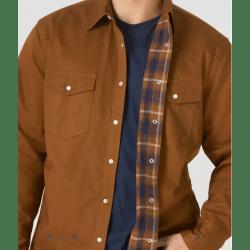 Wrangler Men's Long Sleeve Lined Flannel Brown Snap Work Shirt