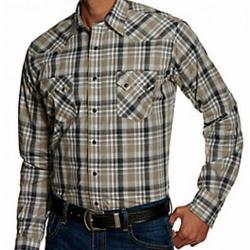 Wrangler Men's Retro Olive Grey White Olive Plaid Snap Western Shirt