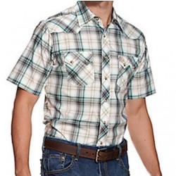 Wrangler Men's Retro Green Grey White Plaid Short Sleeve Snap Shirt
