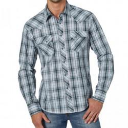 Wrangler Turquoise Black Snap Long Sleeve Western Shirt