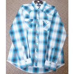 Wrangler Men's Teal Plaid Snap Western Shirt