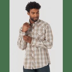 Wrangler Men's Long Sleeve Snap Tan White Turquoise Plaid Western Shirt