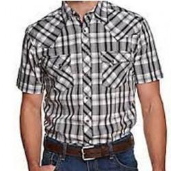 Wrangler Men's Black White Plaid Short Sleeve Snap Western Shirt