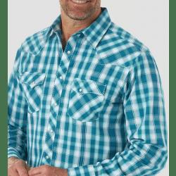 Wrangler Men's Long Sleeve Snap Teal Plaid Western Shirt
