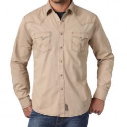 Wrangler Men's Retro Tan Snap Western Shirt