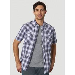 Wrangler Men's Retro Purple Black Plaid Short Sleeve Shirt