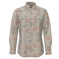 Wrangler Men's Retro Brown Turquoise Snap Western Shirt