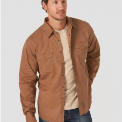 Wrangler Men's Retro Solid Brown With Contrast Trim Snap Front Western Shirt
