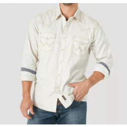 Wrangler Men's Retro Solid White With Contrast Trim Snap Front Western Shirt