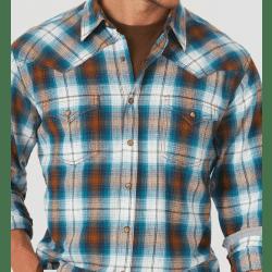 Wrangler Men's Retro Long Sleeve Contrast Trim Blue Brown Plaid Western Shirt