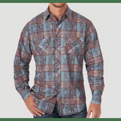 Wrangler Men's Retro Blue Brown Overprint Plaid Button Western Shirt